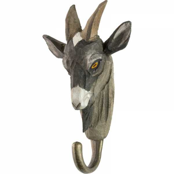 Patère Goat carved wooden
